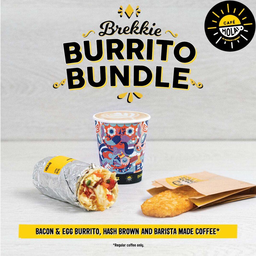 burrito, coffee and hash brown