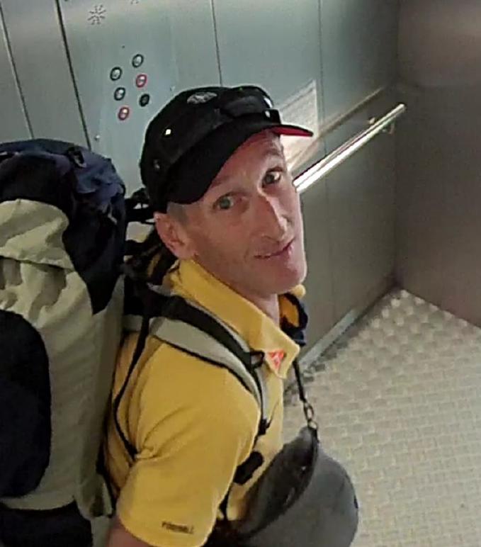CCTV of man in elevator