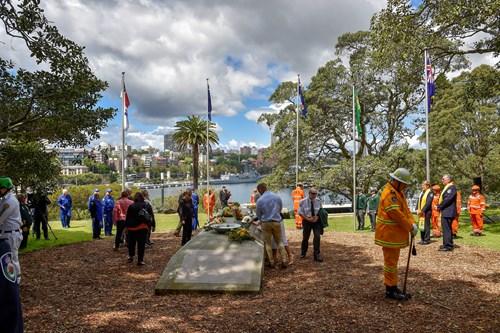 people at memorial site