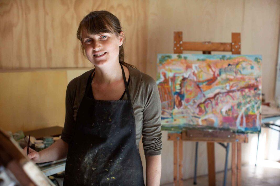 Artist Michelle Teear at her studio in Blackalls Park.