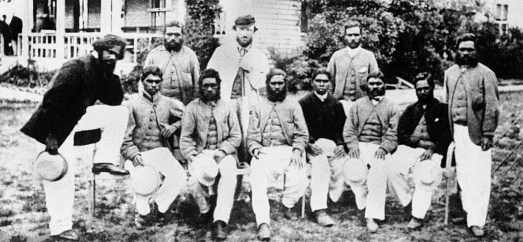 The Aboriginal team that was the first from Australia to tour England, pictured at the Albert Ground, Sydney.