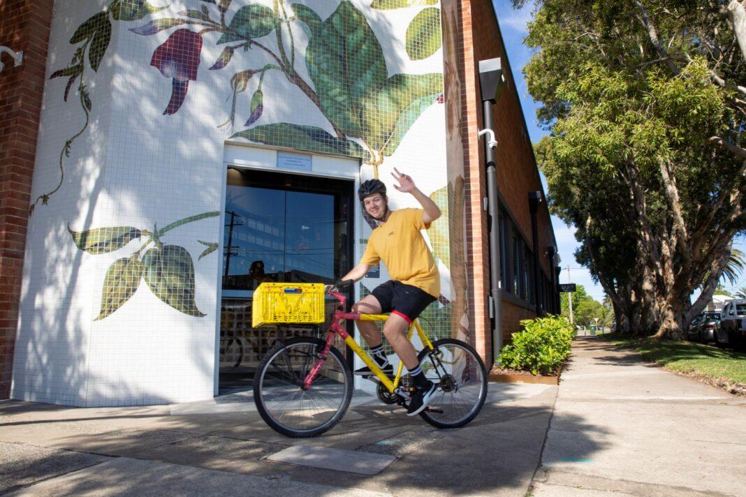 male on bike