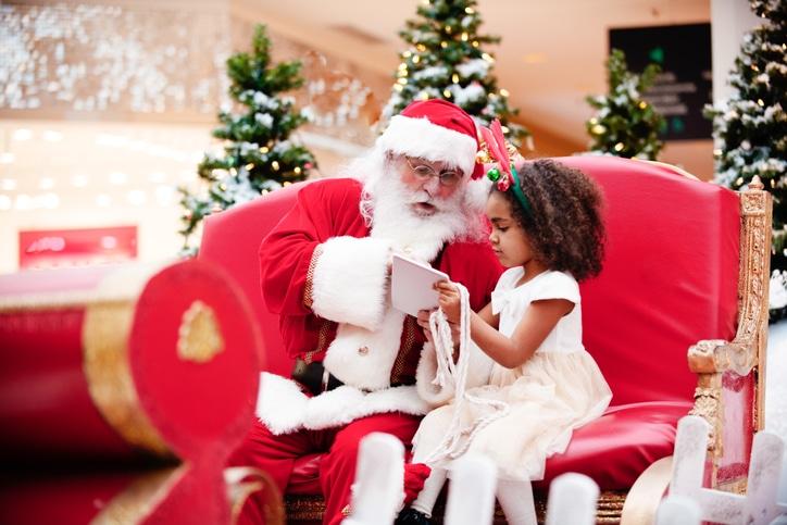 Shopping Christmas with family and Santa Claus at Shopping Mall