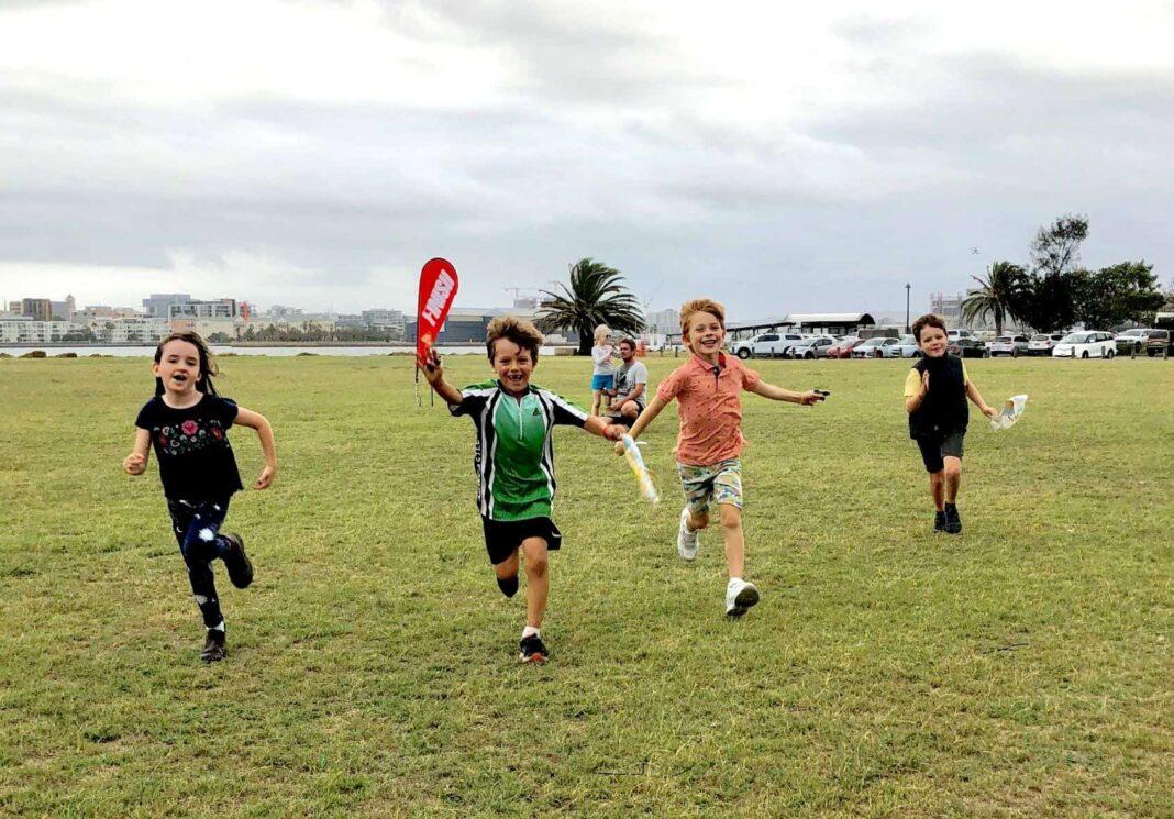 kids running in park